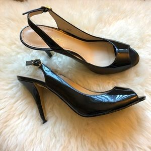 Enzo Angiolini peep toe heels with back strap